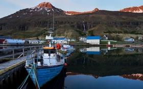 Обои горы, Исландия, залив, поселок, лодки