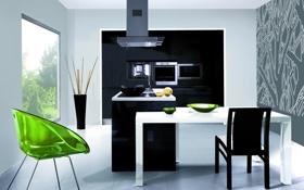 Обои дизайн, кухня, вилла, дом, интерьер, стиль, минимализм