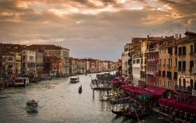 Картинка море, люди, здания, дома, лодки, Италия, Венеция
