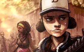 Обои арт, зомби, девочка, Michonne, walking dead, Clementine, telltale games