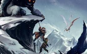 Обои снег, горы, фон, фантастика, обои, рисунок, монстр