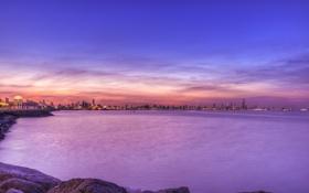 Обои закат, облака, Салмийя, Кувейт, Salmiya, вечер, город