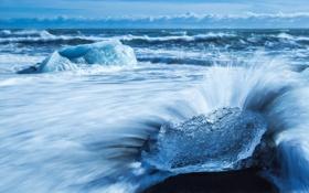 Картинка лед, море, волны, небо, облака, льдина