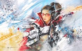 Обои девушка, оружие, краски, арт, очки, League of Legends, Vayne