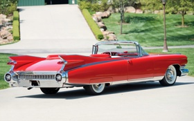 Картинка красный, Eldorado, Cadillac, Эльдорадо, вид сзади, 1959, Кадилак