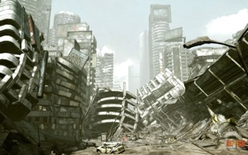 Обои город, постапокалипсис, развалины, rage