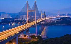 Картинка огни, Гонконг, вечер, сумерки, мост Tsing Ma