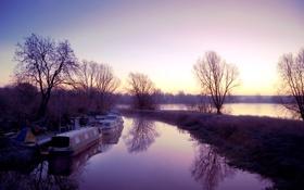 Картинка деревья, закат, озеро, лодки