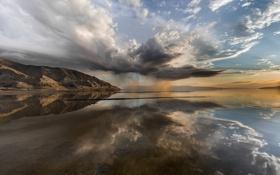Картинка небо, вода, отражения, горы, тучи, шторм
