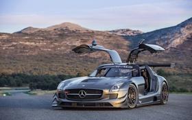 Картинка Mercedes-Benz, AMG, SLS, GT3, Tuning, Evening, Road