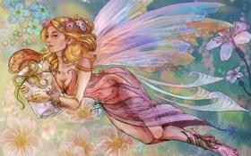Картинка взгляд, девушка, цветы, лицо, волосы, гриб, крылья