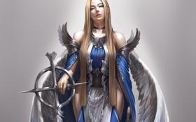 Обои фэнтази, ангел, арт, крылья, девушка, взгляд