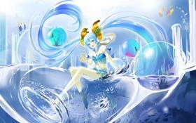 Обои волны, взгляд, вода, девушка, рыбки, улыбка, пузыри