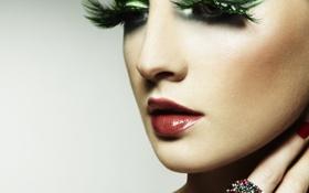Картинка девушка, лицо, ресницы, макияж, перстень