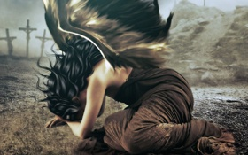 Картинка девушка, фантастика, волосы, крылья, ангел, руки, платье