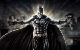 Обои город, огни, пыль, маска, костюм, Batman, крик