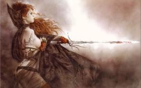 Обои девушка, меч, воин, tatoo, луис ройо, luis, royo