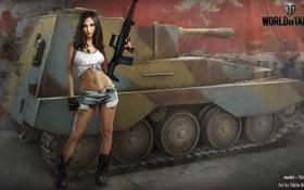 Картинка девушка, танк, girl, танки, WoT, Мир танков, Victory