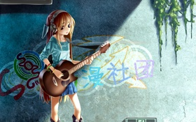 Обои гитара, наушники, девочка
