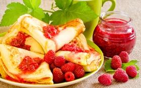 Обои джем, десерт, блинчики, ягоды, малина, блины