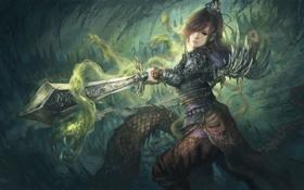 Обои фантастика, девушка, арт, магия, меч, оружие