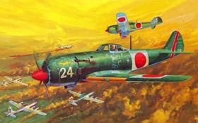 Обои небо, рисунок, истребитель, бой, арт, воздушный, бомбардировщик