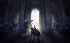 Обои замок, конь, арт, всадник, битва, сражение, рыцарь