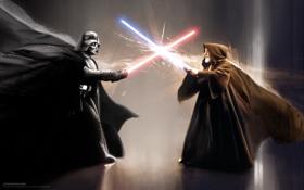 Обои звездные войны, star wars, darth vader, схватка, световой меч, дарт вейдер, оби ван кеноби