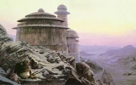 Обои пустыня, Star Wars, горы, Джаба, крепость, Татуин