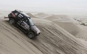 Обои Песок, Черный, BMW, Пустыня, Джип, Rally, Dakar