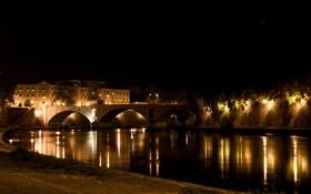 Обои ночь, мост, город, фото, Рим, Италия, Rome