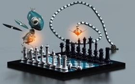 Обои роботы, шахматы, Who plays first