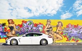 Картинка облака, 970, Porsche, панамера, порше, White, Panamera