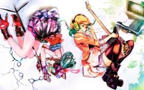 Картинка девушки, гитара, наушники, арт, микрофон, чемодан, vocaloid