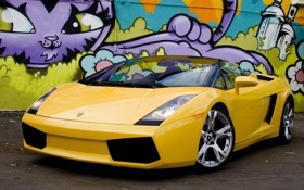 Обои графити, ламборджини, авто, машина, фиолетовая, lamborghini, gallardo