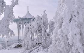 Картинка зима, снег, Пятигорск, китайская беседка