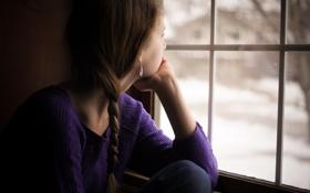 Картинка настроение, окно, девочка