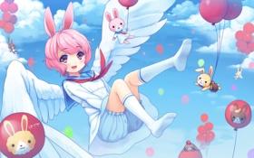 Картинка шарики, воздушные шары, игрушки, крылья, зверьки, арт, девочка