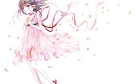 Обои девушка, ленты, аниме, лепестки, арт, tales of destiny, reala