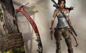 Обои пистолет, лук, Лара Крофт, tomb raider, героиня, Lara Croft, ледоруб