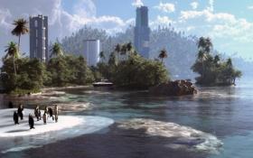 Картинка море, пальмы, остров, здания, пингвины, арт, льдина