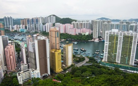 Обои город, фото, дома, Гонконг, небоскребы, Китай, мегаполис