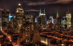 Картинка ночь, огни, нью-йорк, night, Manhattan, new york, usa