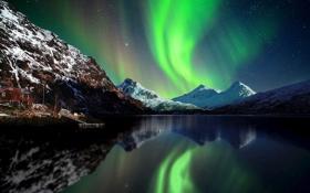 Картинка небо, звезды, снег, горы, ночь, северное сияние, Норвегия