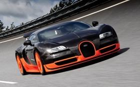 Картинка скорость, трасса, Bugatti Veyron, Super Sport, вейрон, 16.4