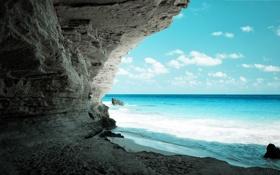 Картинка blue, water, stones, Ocean, Cave