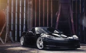 Обои отражение, чёрный, Z06, Corvette, Chevrolet, шевроле, black