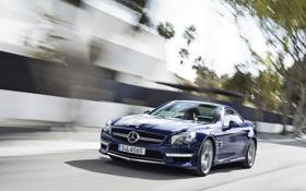 Картинка дорога, синий, Mercedes-Benz, суперкар, мерседес, AMG, передок