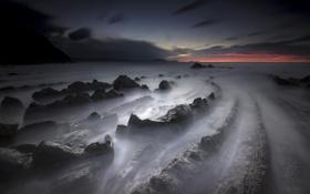Картинка пейзаж, скалы, рассвет, берег, Barrika, País Vasco