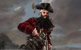 Картинка горы, остров, Черная, пират, косички, Борода, пистоль